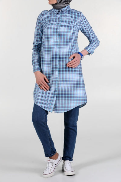 Harmony Cotton Plaid Point Collar - Shirt Dress - NisaLife - Buy Fashion Muslim Women Clothing, Hijab, Dress Abaya, Scarf, Shawl, Headscarf