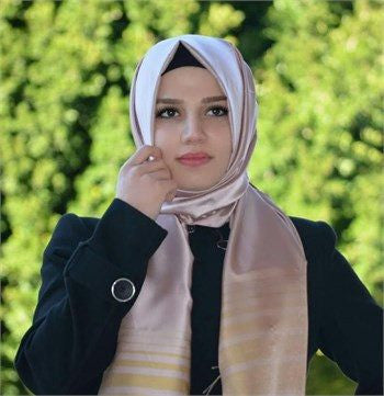 Sarar Taffeta Striped Hijab Shawl- Thistle Lotus - NisaLife - Buy Fashion Muslim Women Clothing, Hijab, Dress Abaya, Scarf, Shawl, Headscarf