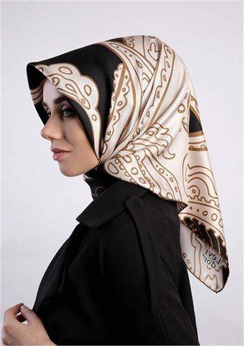 Levidor Twill Silk Scarf - Black Gold  - NisaLife - Buy Fashion Muslim Women Clothing, Hijab, Dress Abaya, Scarf, Shawl, Headscarf