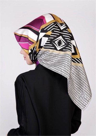 Levidor Twill Silk Scarf - Water Wave Pattern  - NisaLife - Buy Fashion Muslim Women Clothing, Hijab, Dress Abaya, Scarf, Shawl, Headscarf