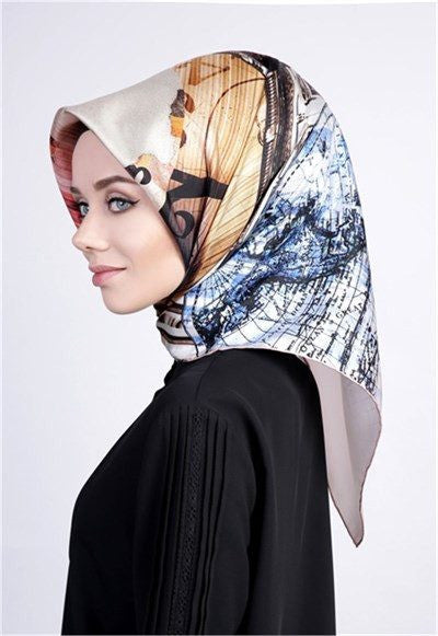 Levidor Twill Silk Scarf - Time Zone  - NisaLife - Buy Fashion Muslim Women Clothing, Hijab, Dress Abaya, Scarf, Shawl, Headscarf