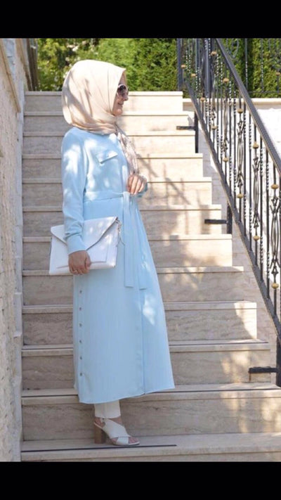 Adrianna Crepe - Shirt Dress - Blue - NisaLife - Buy Fashion Muslim Women Clothing, Hijab, Dress Abaya, Scarf, Shawl, Headscarf
