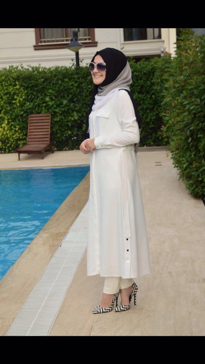 Abraham Crepe - Shirt Dress - White - NisaLife - Buy Fashion Muslim Women Clothing, Hijab, Dress Abaya, Scarf, Shawl, Headscarf