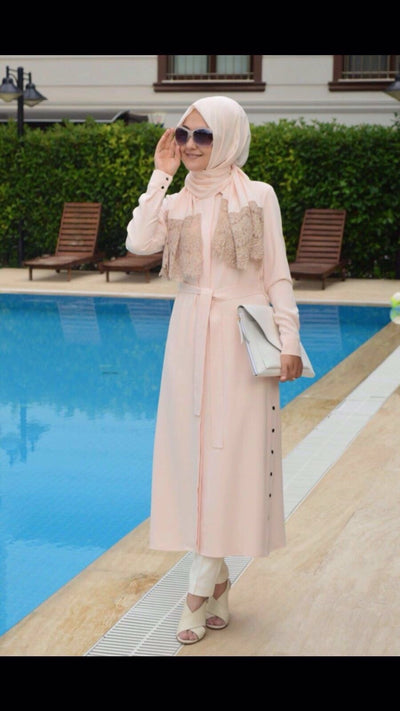 Adrianna Crepe - Shirt Dress - Salmon - NisaLife - Buy Fashion Muslim Women Clothing, Hijab, Dress Abaya, Scarf, Shawl, Headscarf