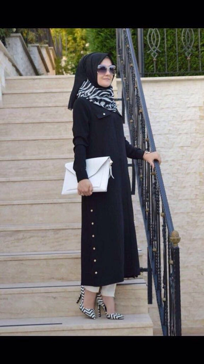 Adrianna Crepe - Shirt Dress - Black - NisaLife - Buy Fashion Muslim Women Clothing, Hijab, Dress Abaya, Scarf, Shawl, Headscarf