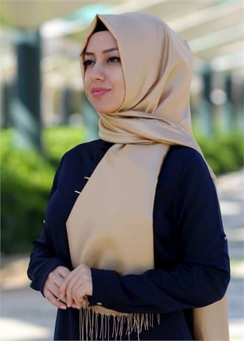 Sarar Taffeta Hijab Shawl - Gold - NisaLife - Buy Fashion Muslim Women Clothing, Hijab, Dress Abaya, Scarf, Shawl, Headscarf