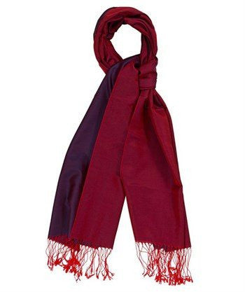 Aker 100% Silk Hijab Shawl  -Claret Red & Indigo - NisaLife - Buy Fashion Muslim Women Clothing, Hijab, Dress Abaya, Scarf, Shawl, Headscarf