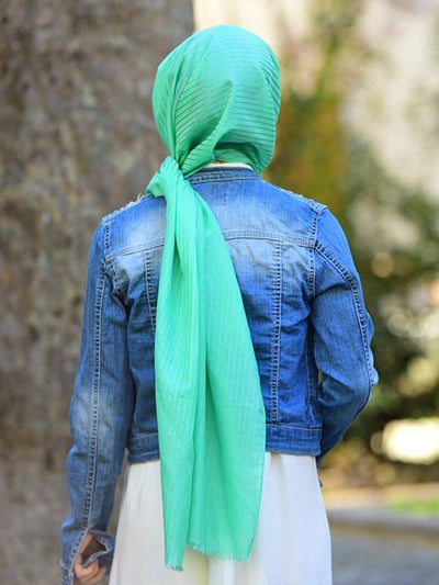 Argite Cotton  Hijab Shawl - Silk line Mint Green - NisaLife - Buy Fashion Muslim Women Clothing, Hijab, Dress Abaya, Scarf, Shawl, Headscarf