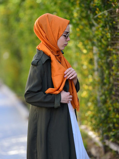 Argite Cotton  Hijab Shawl - Silk line Orange - NisaLife - Buy Fashion Muslim Women Clothing, Hijab, Dress Abaya, Scarf, Shawl, Headscarf