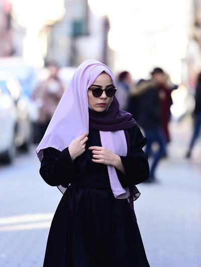 Argite Two Colored Chiffon Hijab Shawl - Purple&Thistle - NisaLife - Buy Fashion Muslim Women Clothing, Hijab, Dress Abaya, Scarf, Shawl, Headscarf