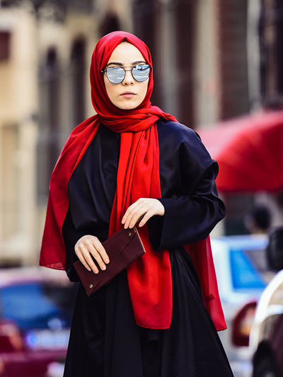 Argite Alya Chiffon Hijab Shawl-Dark Red - NisaLife - Buy Fashion Muslim Women Clothing, Hijab, Dress Abaya, Scarf, Shawl, Headscarf