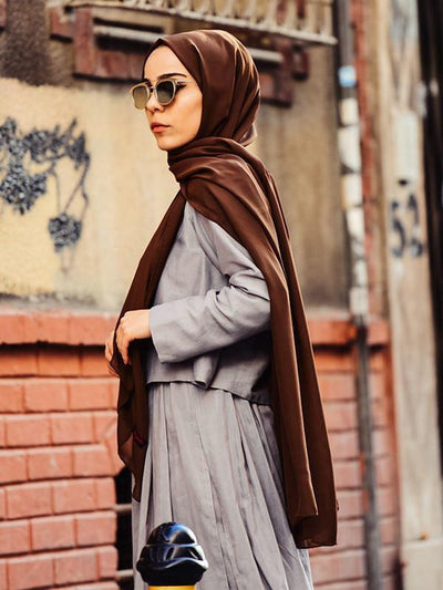 Argite Alya Chiffon Hijab Shawl- Brown - NisaLife - Buy Fashion Muslim Women Clothing, Hijab, Dress Abaya, Scarf, Shawl, Headscarf