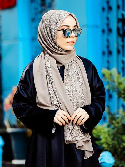 Argite Authentic Chiffon Hijab Shawl - Mink Lace - NisaLife - Buy Fashion Muslim Women Clothing, Hijab, Dress Abaya, Scarf, Shawl, Headscarf