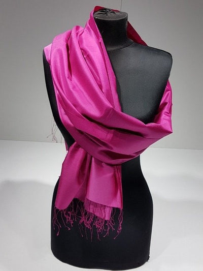 Crystal Gold 100% Indian Silk Handwoven Shawl - Fuchsia - NisaLife - Buy Fashion Muslim Women Clothing, Hijab, Dress Abaya, Scarf, Shawl, Headscarf