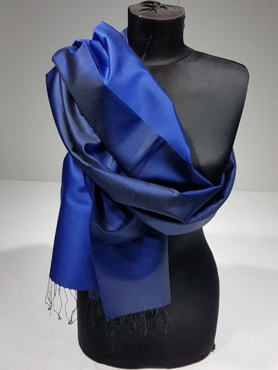 Crystal Gold 100% Indian Silk Handwoven Shawl - Black Blue - NisaLife - Buy Fashion Muslim Women Clothing, Hijab, Dress Abaya, Scarf, Shawl, Headscarf