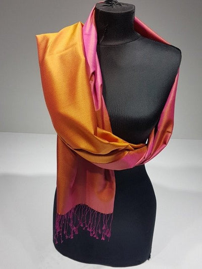 Crystal Gold 100% Indian Silk Handwoven Shawl - Fuchsia & Orange - NisaLife - Buy Fashion Muslim Women Clothing, Hijab, Dress Abaya, Scarf, Shawl, Headscarf
