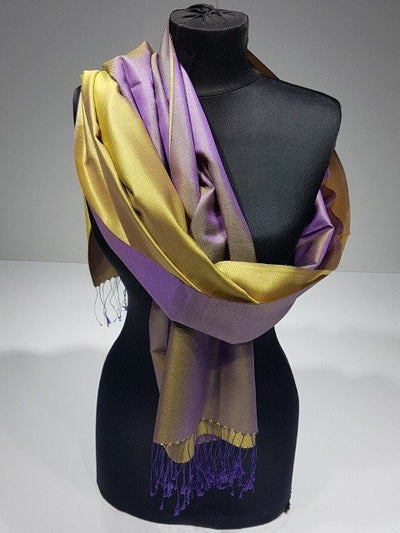Crystal Gold 100% Indian Silk Handwoven Shawl - Purple & Gold - NisaLife - Buy Fashion Muslim Women Clothing, Hijab, Dress Abaya, Scarf, Shawl, Headscarf