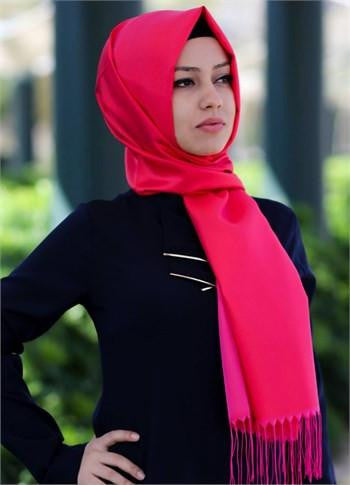 Sarar Taffeta Hijab Shawl - Red & Fuchsia - NisaLife - Buy Fashion Muslim Women Clothing, Hijab, Dress Abaya, Scarf, Shawl, Headscarf