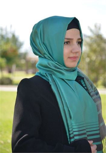 Sarar Taffeta Striped Hijab Shawl - Teal & Brown - NisaLife - Buy Fashion Muslim Women Clothing, Hijab, Dress Abaya, Scarf, Shawl, Headscarf