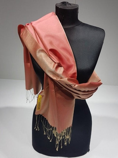 Vangogh 100% Indian Silk Shawl - Salmon - NisaLife - Buy Fashion Muslim Women Clothing, Hijab, Dress Abaya, Scarf, Shawl, Headscarf