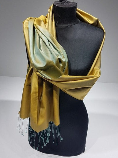 Vangogh 100% Indian Silk Shawl - Gold Green - NisaLife - Buy Fashion Muslim Women Clothing, Hijab, Dress Abaya, Scarf, Shawl, Headscarf