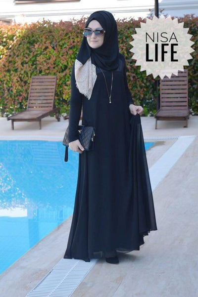 Black - Elegant - Yoke - Maxi Dress - NisaLife - Buy Fashion Muslim Women Clothing, Hijab, Dress Abaya, Scarf, Shawl, Headscarf