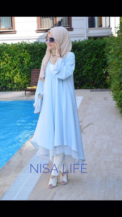 Blue - Unlined - Asymmetric Hem - Topcoat - NisaLife - Buy Fashion Muslim Women Clothing, Hijab, Dress Abaya, Scarf, Shawl, Headscarf