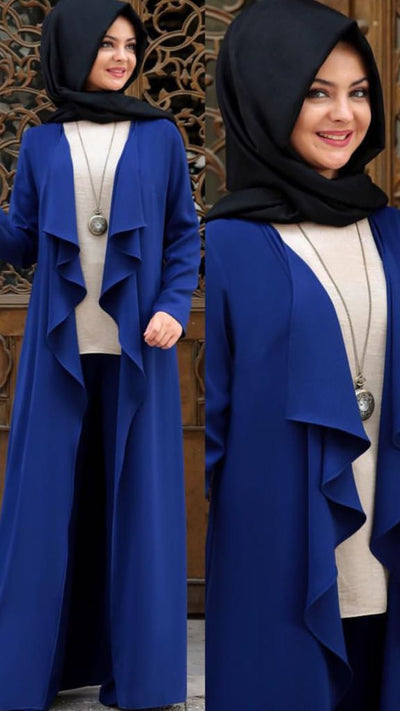 Blue Topcoat - NisaLife - Buy Fashion Muslim Women Clothing, Hijab, Dress Abaya, Scarf, Shawl, Headscarf