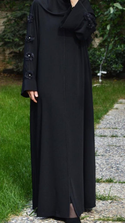 Black Abaya Rose - NisaLife - Buy Fashion Muslim Women Clothing, Hijab, Dress Abaya, Scarf, Shawl, Headscarf