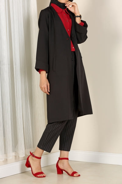 Black - Notch Collar Jacket & Tunic - NisaLife - Buy Fashion Muslim Women Clothing, Hijab, Dress Abaya, Scarf, Shawl, Headscarf