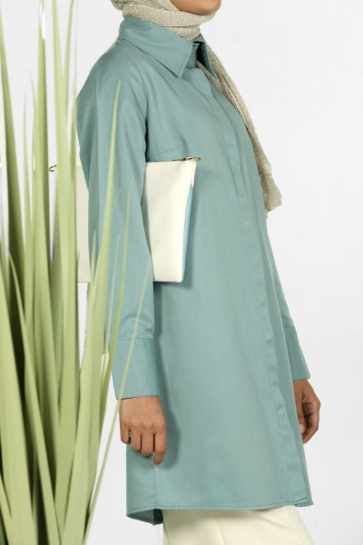 Soft Turquoise - Point Collar - Shirt Dress - NisaLife - Buy Fashion Muslim Women Clothing, Hijab, Dress Abaya, Scarf, Shawl, Headscarf