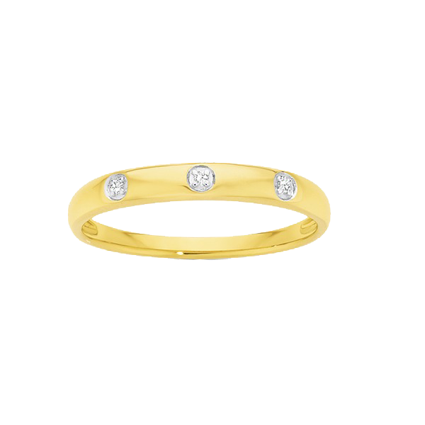 9ct Gold Dress Ring with 3 Brilliant Cut Diamonds