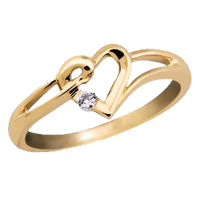 9ct Gold Heart Ring with a Diamond