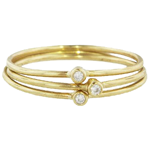 9ct Gold with Three Brilliant Cut Diamonds