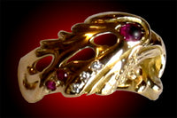 Eagle Ring Cab Ruby Eye & Diamonds