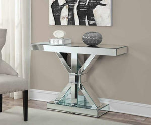 Thick Mirrored Console Table