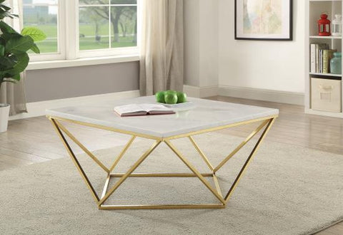 Image of Roseflower White/Brass Coffee Table