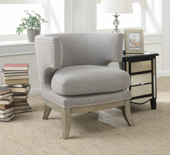 Birch Barrel Back Upholstered Accent Chair in Grey