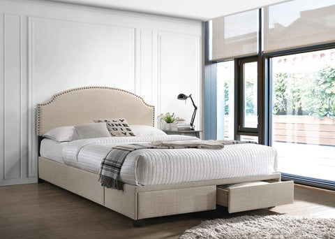 Image of Newdale Upholstered Bed in Beige