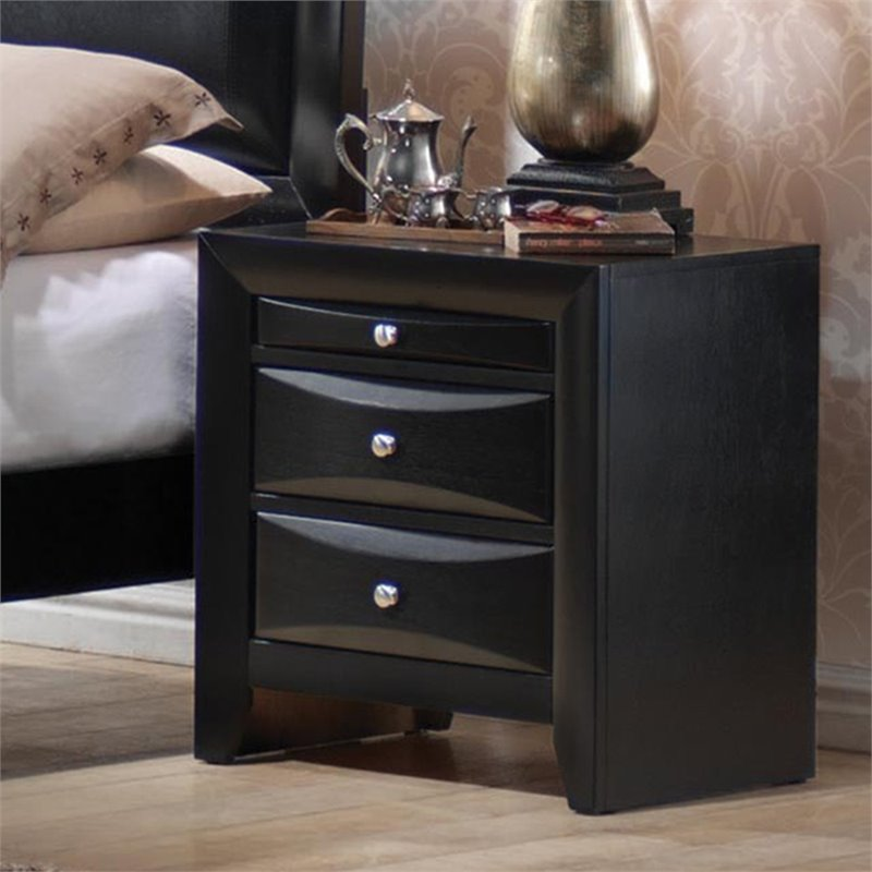 Briana Collection Nightstand in Black