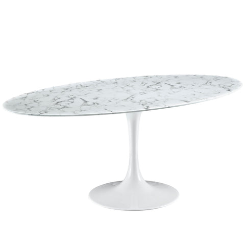 "Image of Lippa 78"" Oval Artificial Marble Dining Table"