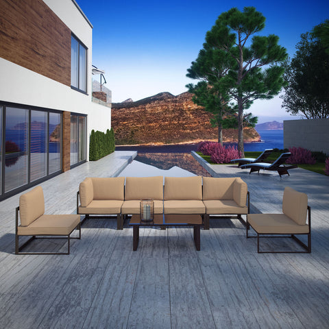 Image of Fortuna 7 Piece Outdoor Patio Sectional Sofa Set