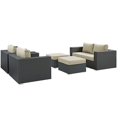 Image of Sojourn 5 Piece Outdoor Patio Sunbrella® Sectional Set