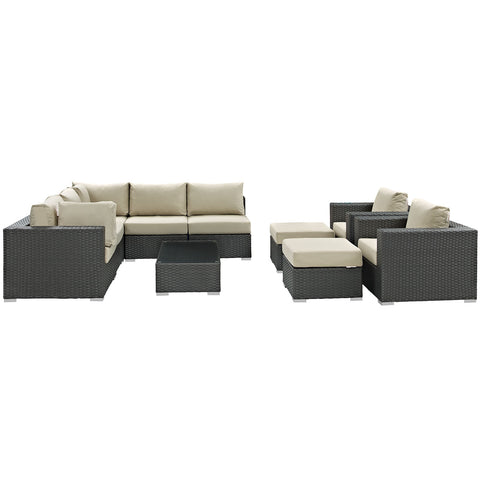 Image of Sojourn 10 Piece Outdoor Patio Sunbrella® Sectional Set