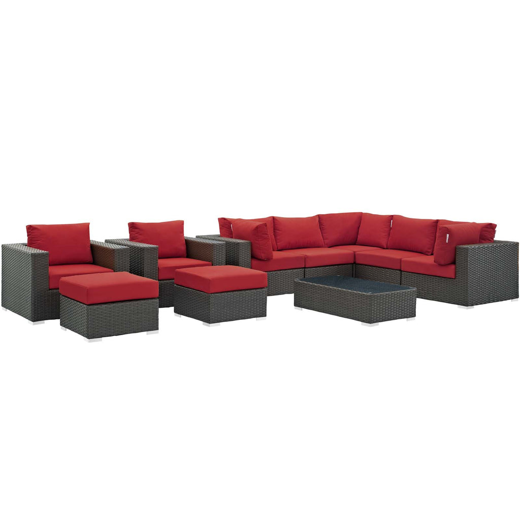 Sojourn 10 Piece Outdoor Patio Sunbrella® Sectional Set