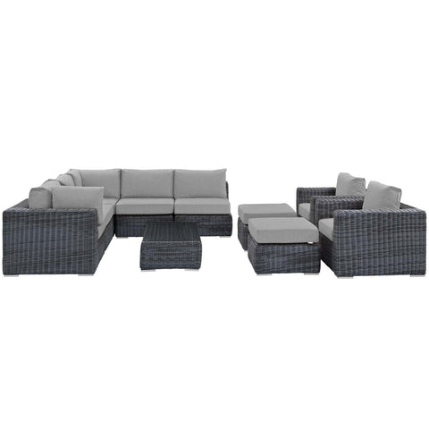Image of Summon 10 Piece Outdoor Patio Sunbrella® Sectional Set