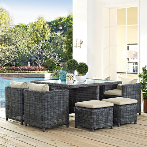 Image of Summon 9 Piece Outdoor Patio Sunbrella® Dining Set