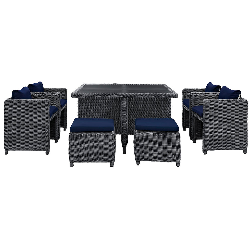 Summon 9 Piece Outdoor Patio Sunbrella® Dining Set