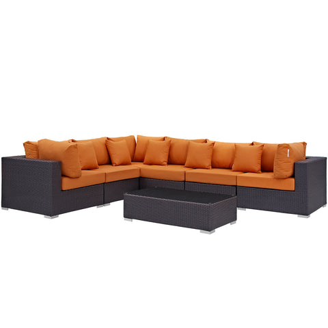 Image of Convene 7 Piece Outdoor Patio Sectional Set