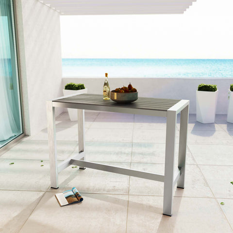 Image of Shore Outdoor Patio Aluminum Rectangle Bar Table